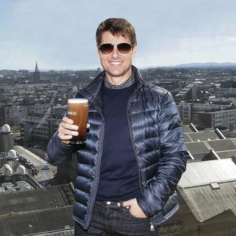 Tom Cruise trys the Guinness at the Storehouse prior to the Irish Premiere of film 'Oblivion' at the Savoy cinema, Dublin Picture:Brian McEvoy