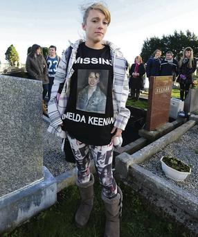Samantha Keegan attends a vigil with family and friends for her missing auntie, Imelda Keenan. Photo: James Flynn