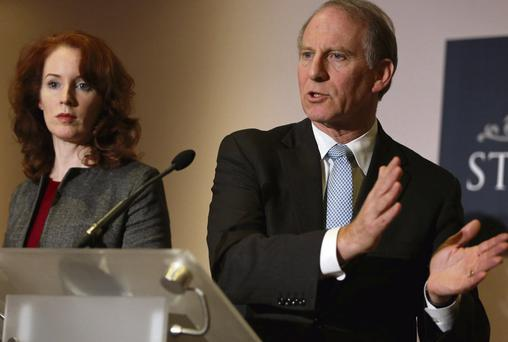 US diplomat Richard Haass (right) with Harvard professor Meghan O'Sullivan, speaking to the media at Stormont Hotel in Belfast. Photo: Press Association