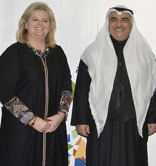 Rehab Group chief executive Angela Kerins with Adel Fakeih, Saudi Arabia's Minister of Labour.