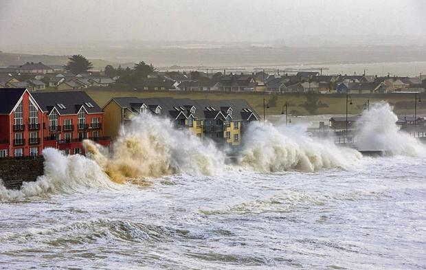 Tramore beach, Co Waterford, as storm-force winds and high tide arrived. Superstorm Christine has lashed almost all of the country. Dylan Vaughan