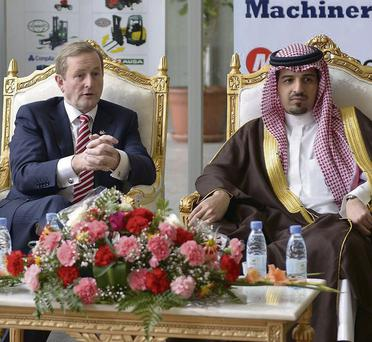 Taoiseach Enda Kenny with Kanoo manager Yusuf Bin Ahmed in Riyadh. Kanoo is a distribution partner of Co Monaghan company Combilift