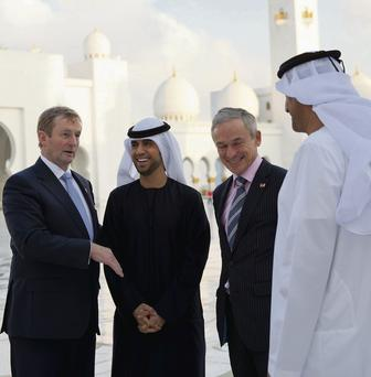 Taoiseach Enda Kenny and Jobs and Enterprise Minister Richard Bruton with representatives of the United Arab Emirates