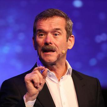 Astronaut commander Chris Hadfield makes a keynote address at the Laya Heathcare Pendulum Summit event at Dublin Convention Centre