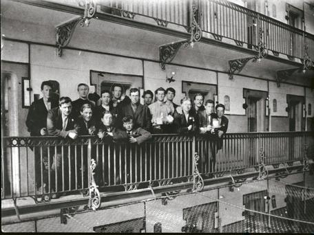 Irish Prisoners on the balcony of E Block in Stafford Jail in 1916. Eamon Bulfin is 3rd from left in the back row.