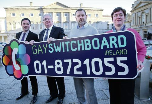 Labour TD John Lyons with Minister Pat Rabbitte and Tony Cooney and Maria Keogh of Gay Switchboard Ireland. Frank McGrath