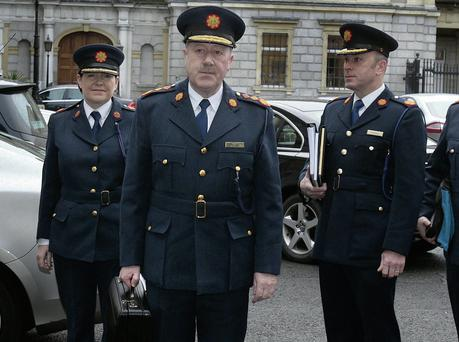 Garda Commissioner Martin Callinan (front), with, from left, Deputy Commissioner Noirin O'Sullivan and Assistant Commisioners John Twomey and John O'Mahony