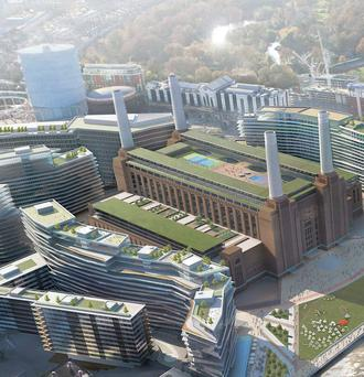 artist's impression battersea development and paddy mckillen (inset)