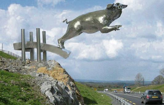 An artist's impression of how the sculpture, which depicts sixth Century legend St Maeldoid's Pig, will look