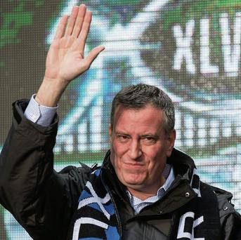 New York City Mayor Bill de Blasio pictured at the Super Bowl Hand-Off Ceremony in Times Square