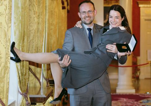 Cuisle O'Donovan from Galway with her fiance Andrew Forde after she received her Gaisce award yesterday. Picture: Frank McGrath
