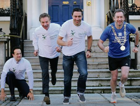 Kenneth Egan, with (left to right), Leo Varadkar, Eamonn Coghlan, and Dublin mayor Oisin Quin