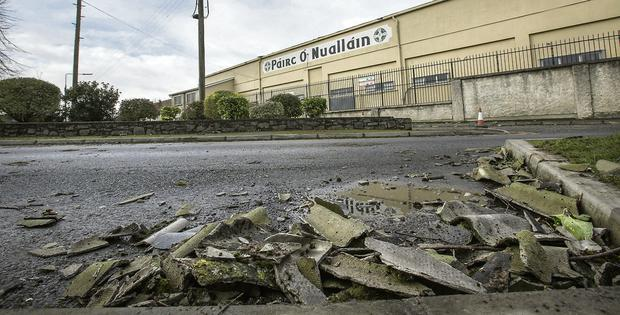 Parts of the roof at Nowlan Park, Kilkenny that blew down in high winds. Mark Condren