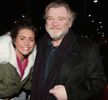 Brendan Gleeson with fan Kirsty Delaney at the premiere of 'Calvary'