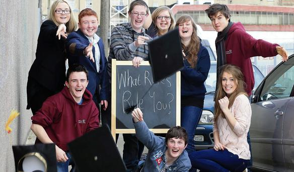 Students from the 'What Rules Rule You' event at Youth Work Ireland's office in Dublin. Marc O'Sullivan