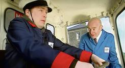 Fr Dougal (Ardal O'Hanlon) in the milk float from the Father Ted episode Speed 3