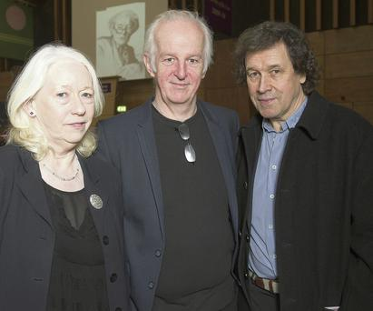 Actors, Marie Mullen, Sean McGinley and Stephen Rea attend a charity evening in honour of Seamus Heaney.Photo: Andrew Downes