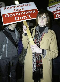 Aine Gillan, a postmistress from Claremorris, Co Mayo, at a protest outside the Dail by members of the Irish Postmasters' Union