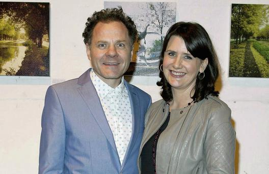 Conor Ferguson, with his wife Keelin Shanley at the opening of his exhibition
