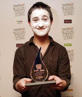 Villagers frontman Conor O'Brien accepts the Meteor Choice Music Prize