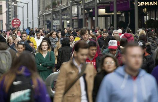 Crowds of shoppers on Henry Street, Dublin, yesterday. Picture: Michael Donnelly/Collins