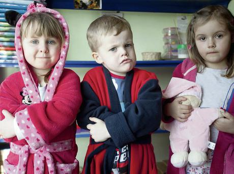 From left, Lily May Cleary, Liam Hurley Stanley and Tamzin Kavanagh Byrne at their preschool