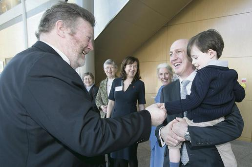 Minister for Health, Dr James O'Reilly meets with Maurice Neligan son, Maurice and his son also Maurice