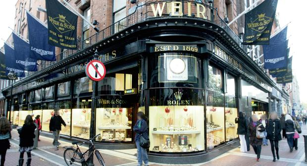 STOLEN: The thieves are said to have pilfered a €40k watch from Weir's on Dublin's Grafton Street