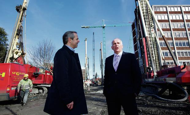 The Sunday Independent's Ronald Quinlan with developer Luke Comer. Photo: Patrick Bolger