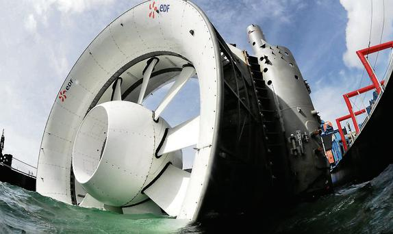 An OpenHydro turbine being deployed off the coast of France.