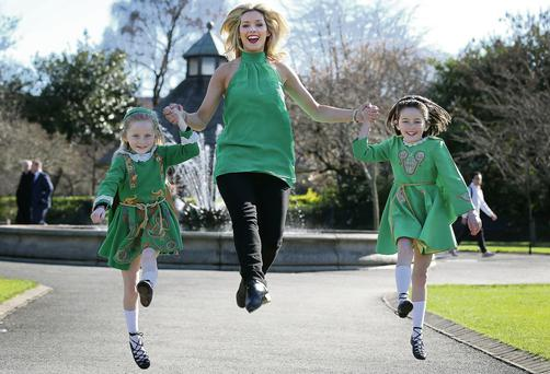 Eve (8) and Erin Kirby (9) join Dearbhla Lennon, former principal dancer with 'Riverdance', to promote the St Patrick's Festival Ceili on March 14. Frank McGrath