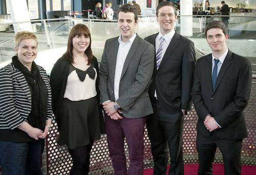 Pictured at the HEA Making an Impact Competition 2014 at the Helix in DCU are (LtoR) Diana van Doorn, from IT Carlow, Linda Connor NUIG, student's choice winner Killian O'Brien NUIG, judges choice winner Robert Mooney NUIG, and Martin Holmes from Trinity.