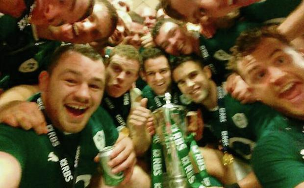 Cian Healy's post-match tweet of the jubilant team with the trophy.