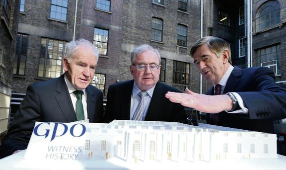 Arts Minister Jimmy Deenihan, Communications Minister Pat Rabbitte and An Post boss Donal Connell, reviewing plans for GPO: Witness History.