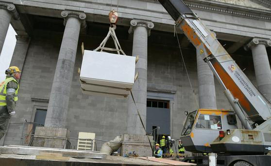 The altar being moved into St Mel's