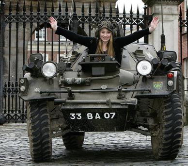 Emma McEntee, of DIT Aungier Street, in an armoured car to promote the Student Summit 2014. Picture: Tom Burke