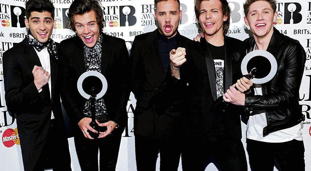 TOP BOYBAND: Zayn Malik, Harry Styles, Liam Payne, Louis Tomlinson and Nial Horan from One Direction. Photo: Ian West/PA