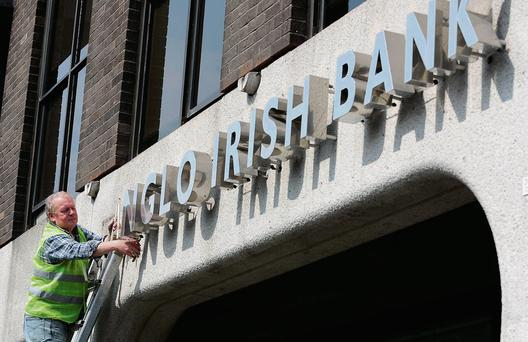 Anglo Irish Bank sign at former Anglo headquarters, St Stephen's Green, Dublin, being removed in 2011