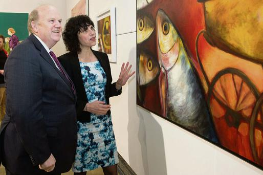 Michael Noonan with LIT President Dr Maria Hinfelaar at the exhibition in Limerick.