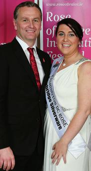 Dorothy 'Dott' Henggeler with Rose of Tralee host Daithi O Se during the 2011 festival. Photo: Dominic Walsh
