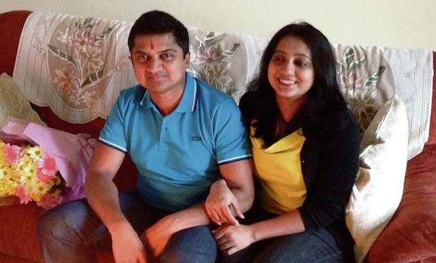 Savita with her husband Praveen in happier days