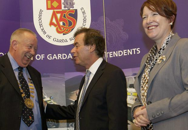 From left, Supt Gerry Smith, president of the Association of Garda Superintendents, Justice Minister Alan Shatter and interim Garda Commissioner Noirin O'Sullivan