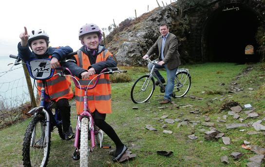 Junior Minister Alan Kelly with Michael and Elaine Kavanagh at the launch of a new greenway development for in Kerry. Photo: Don MacMonagle