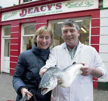 Linda Moran with John McDonagh from Deacy's fish shop in Galway.