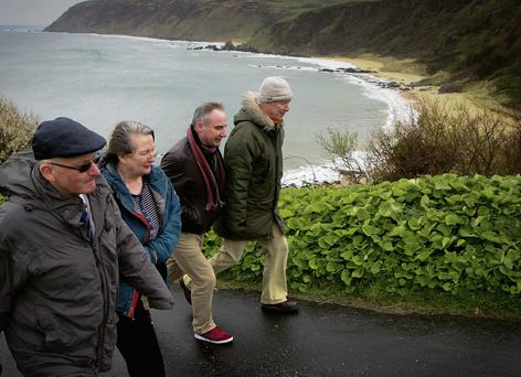 David Simpson, Toni Devine, Liam Cunningham and Neil McCormack near the proposed site at Kinnego Bay. Photo: Brian McDaid