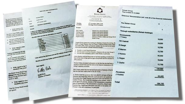 DOCUMENTATION: Papers, above, that Sunday Independent got hold of and which reveal details of payments to John Hussey.