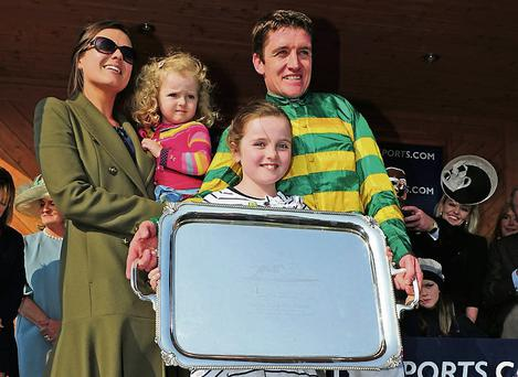 Jockey Barry Geraghty and family