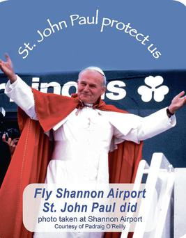 The image of John Paul II at Shannon has been immortalised for a bumper sticker.