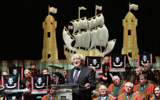 Honoured: President Higgins is awarded the Freedom of Cork city last night