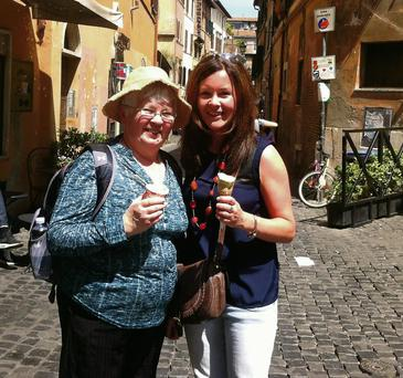 Mary Martin and her daughter Aoife, from Swords, who have made the pilgrimage to Rome